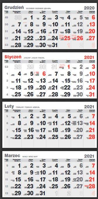 czterodzielne kalendarium